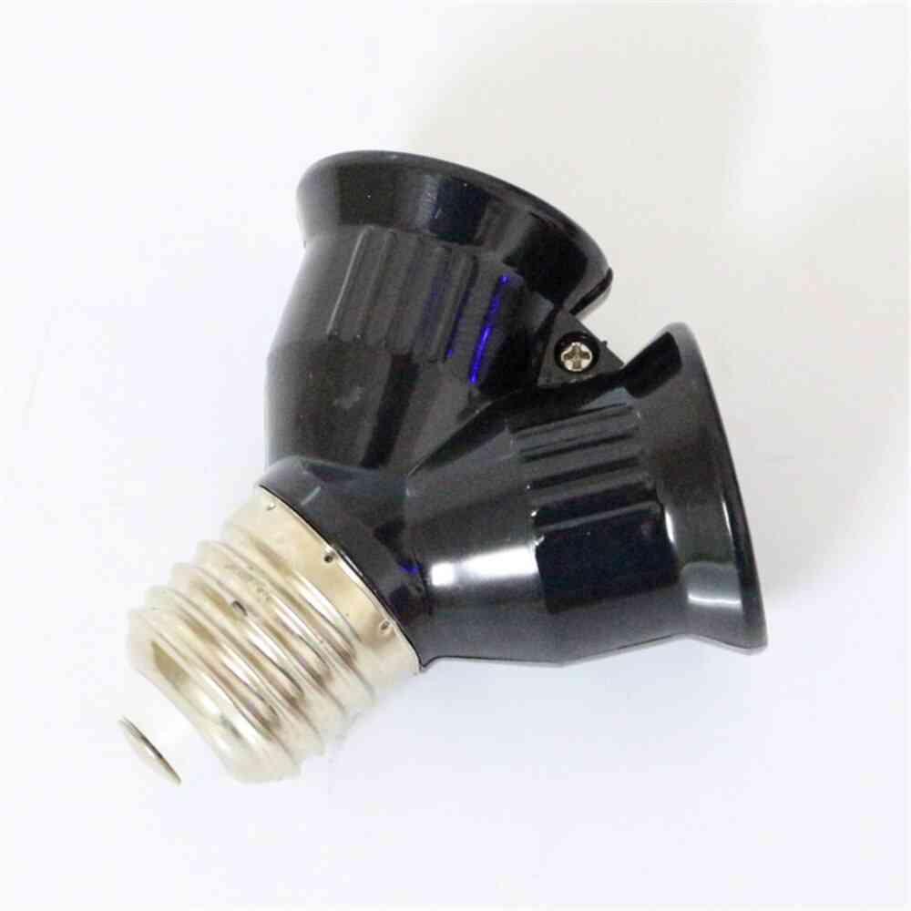Black Fireproof E27 To 2e27 Lamp Holder Converter