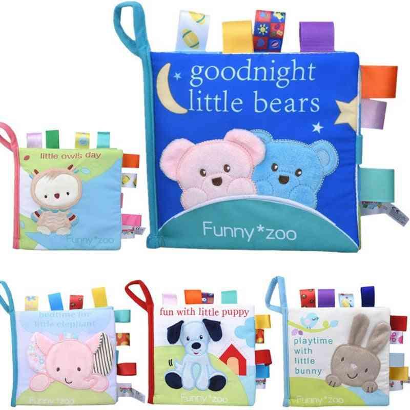 Baby Soft Cloth Books Rustle Sound - Infant Educational Stroller Rattle Crib