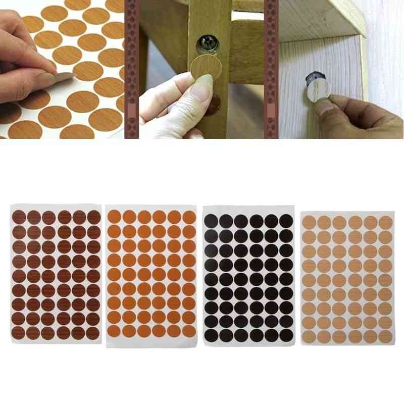 Wooden Print, Self Adhesive Screw Covers-furniture Hole Stickers