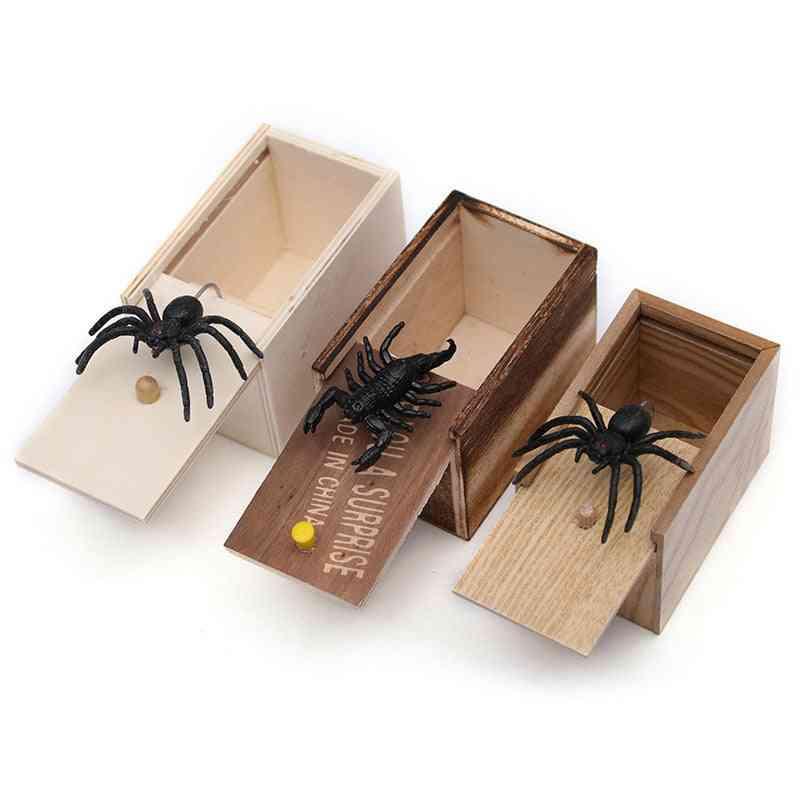 Funny Scare Box Spider - Hidden In Case Prank Wooden Scarebox Joke Trick Play