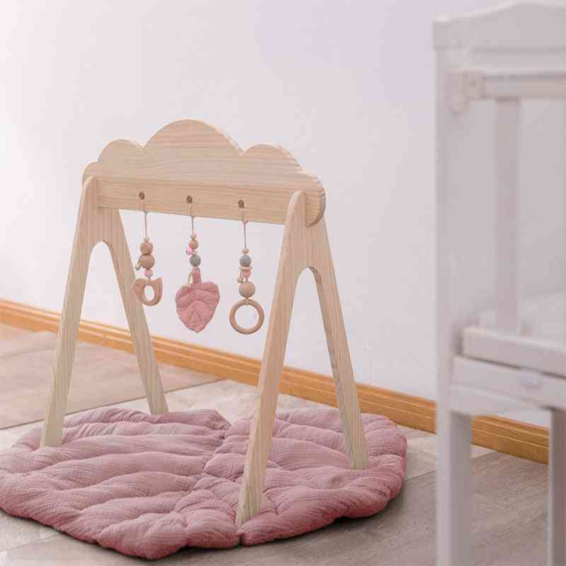 Baby Wooden Teether Gym Play Cotton Leaves Mat Natural Rodent Stroller Chain Hanging Mobile Bed Holder