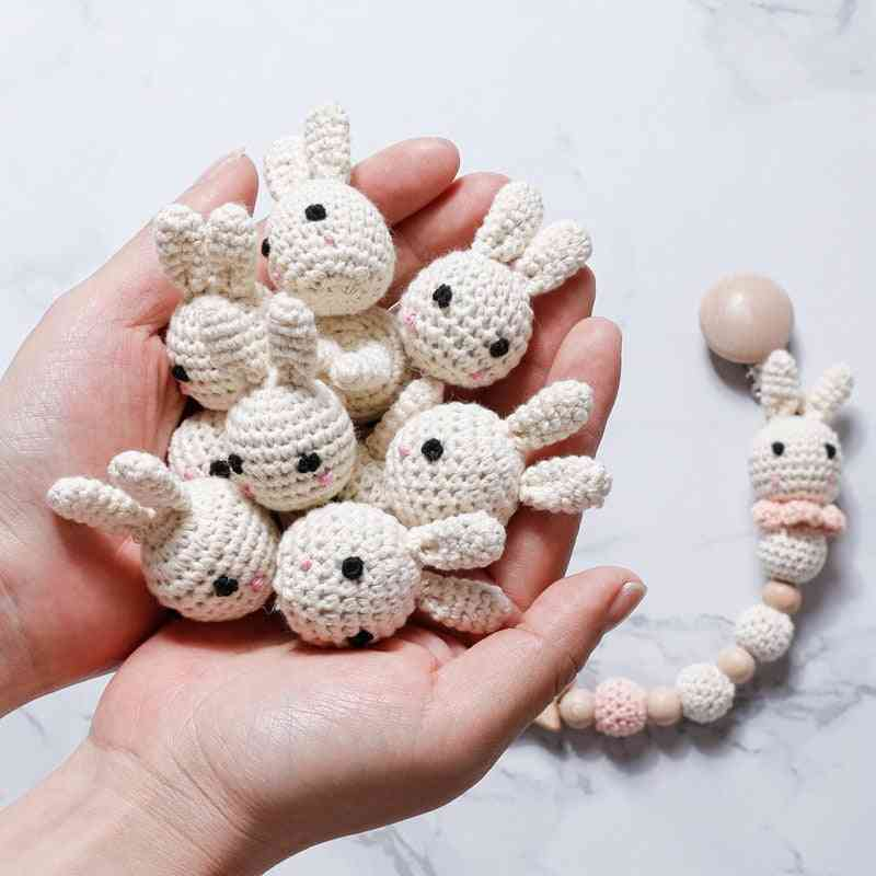 Cute Pattern, Crochet Bead For Baby Pacifier Chain-diy Wooden Teething Clips