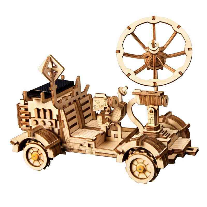 Robotime Moveable Solar Energy Powered Toy - 3d Puzzle Diy Laser Cutting Wooden Model