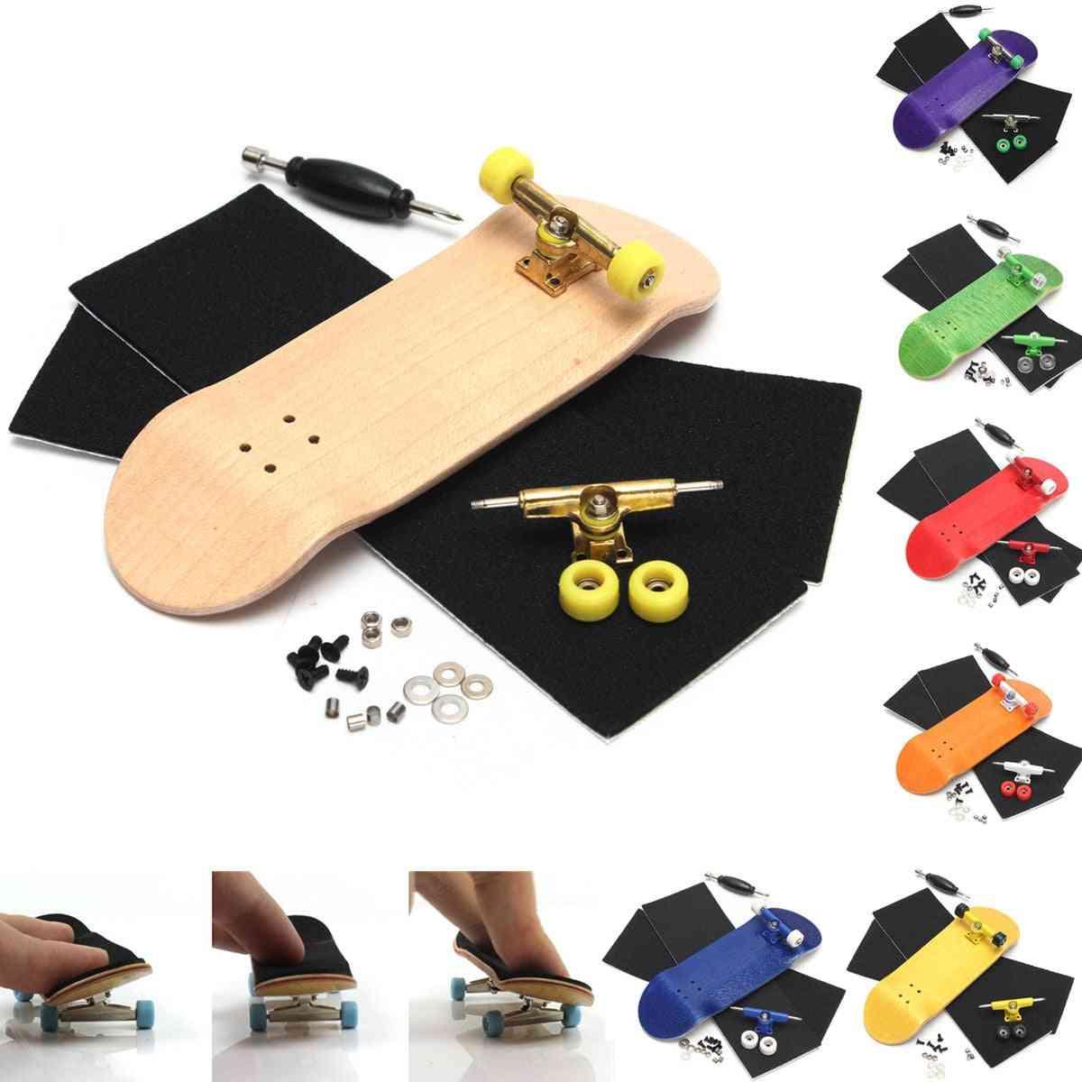 Wooden Professional Finger Skate Board Wood Fingerboars With Bearings Wheel Foam Tape Set