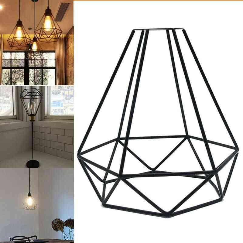 1/2/3pcs Modern  Industrial Vintage Cage, Led Pendant Light-vintage Iron Art Diamond-shape Retro Dining Room/restaurant/bar Lamp