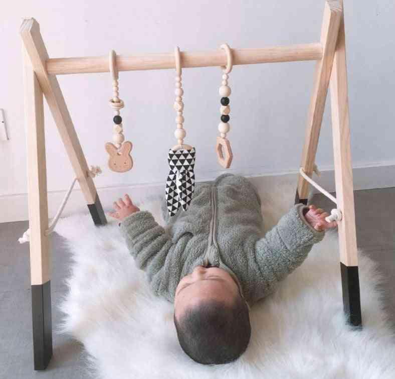 Wooden Rabbit Ear Pendant Toy For Baby Gym Fitness Rack Kit