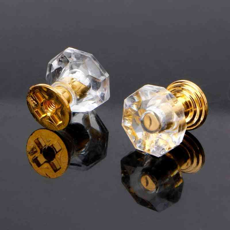 Diamond Shape Crystal Glass Cabinet Knob Drawer Pull Handle For Jewelry Box