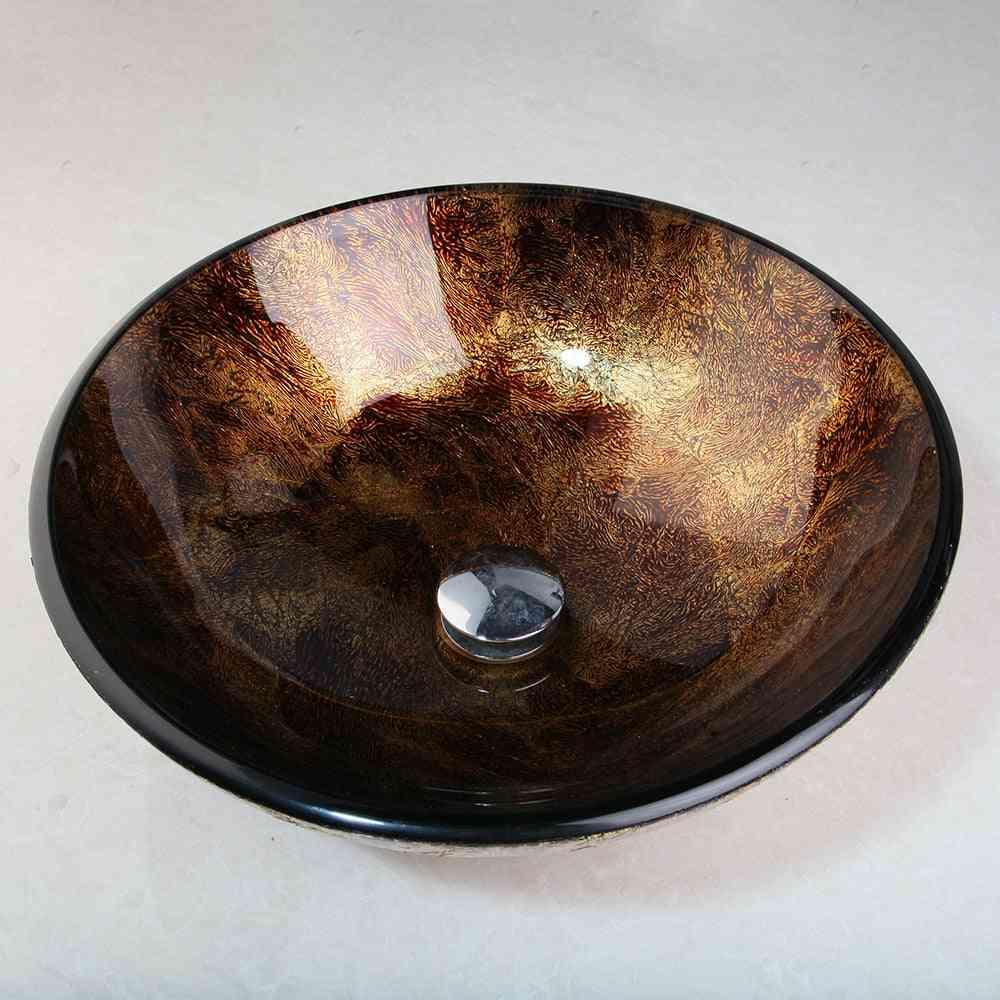 Wash Basin Round Glass Vessel Sink Faucet Set