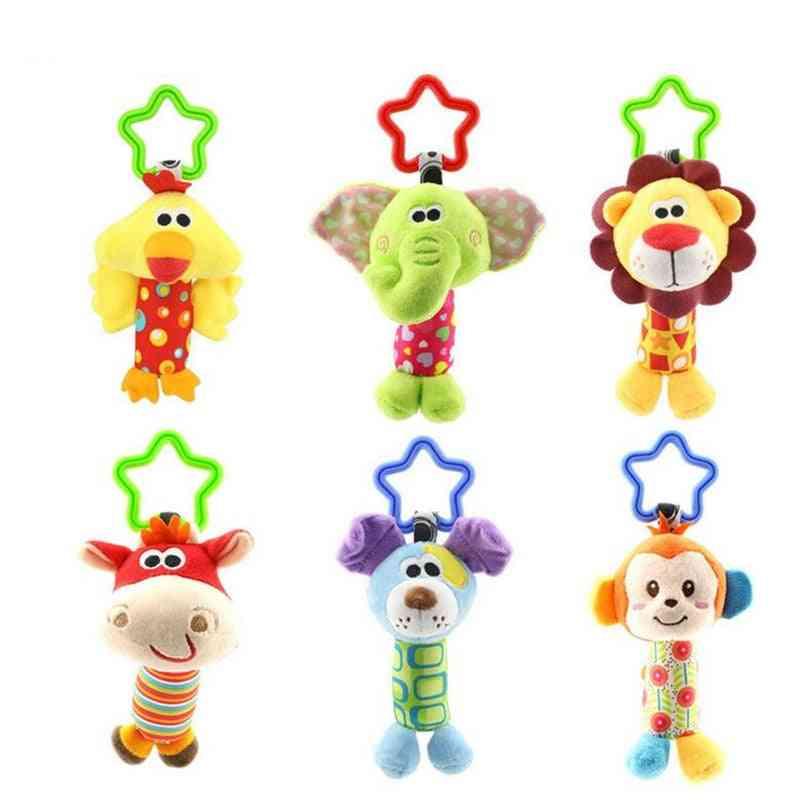Cartoon Animal Plush Hand Bell - Stroller Crib Hanging Rattles