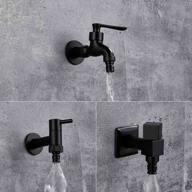 Wall Mounted Bathroom Corner Washing Machine Black Brass Faucet, Outdoor Garden Bibcock Bath Toilet Mop Pool Taps
