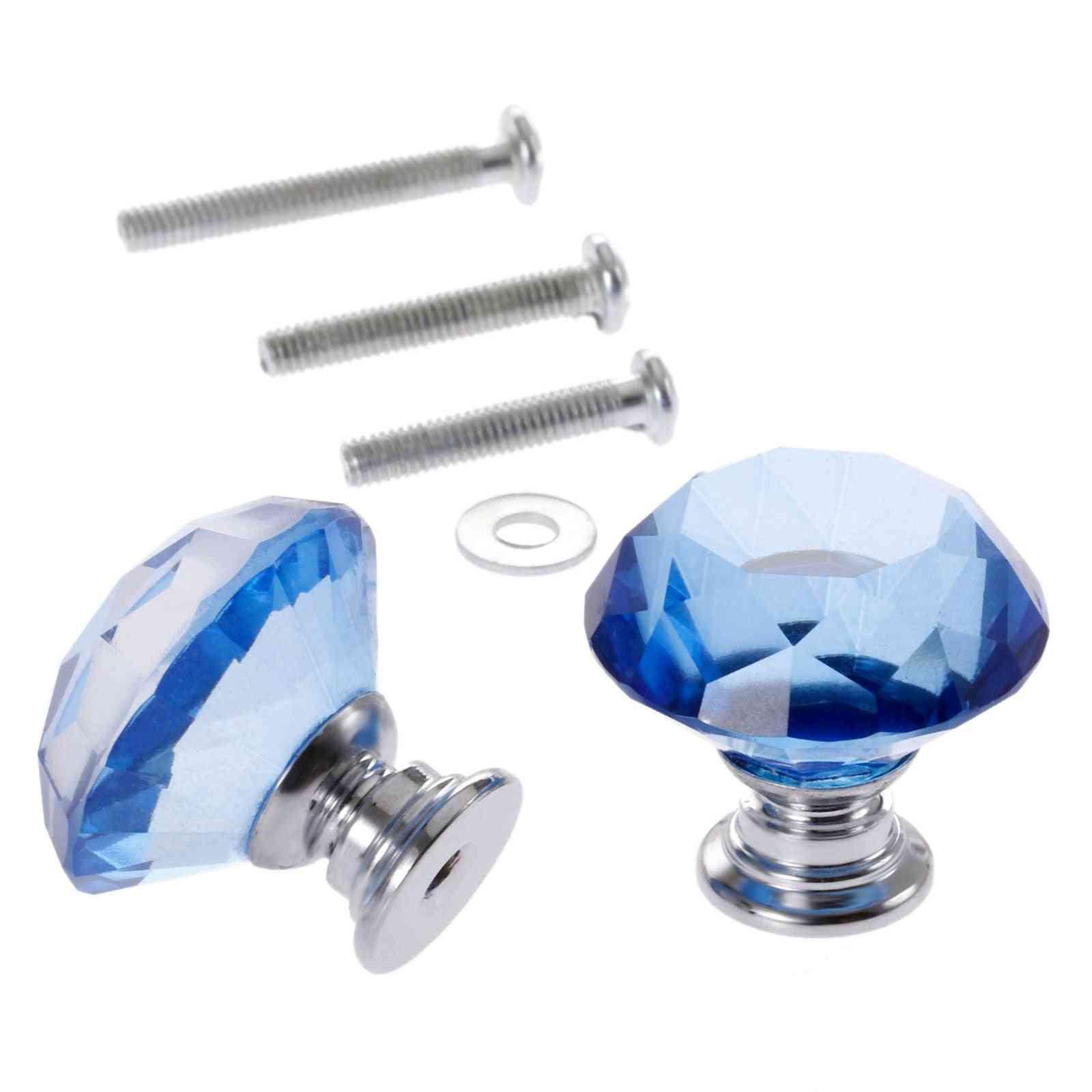 2pc Of 30mm Diamond Shape, Crystal Glass Knobs