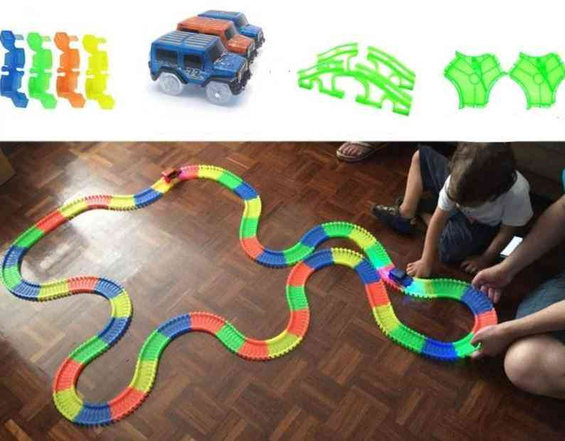 Railway Magical Glowing Flexible Track, Car For