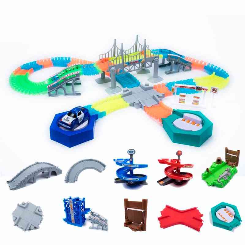 Magical Glowing Race Track, Accessories Ramp Turn Road Bridge Toy