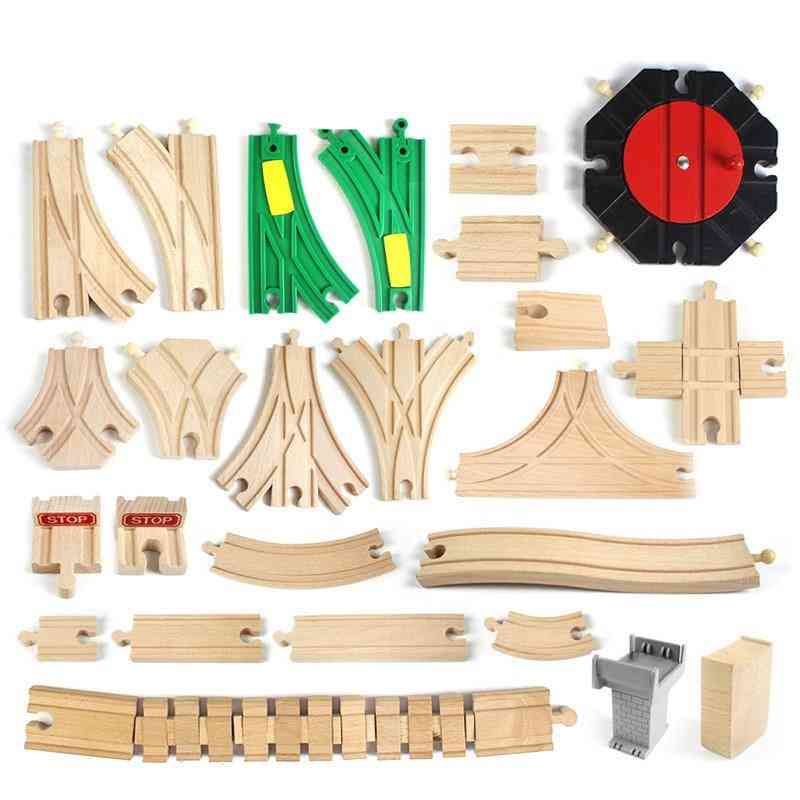 All Kinds Wooden Railway Train Track Parts Toy Accessories