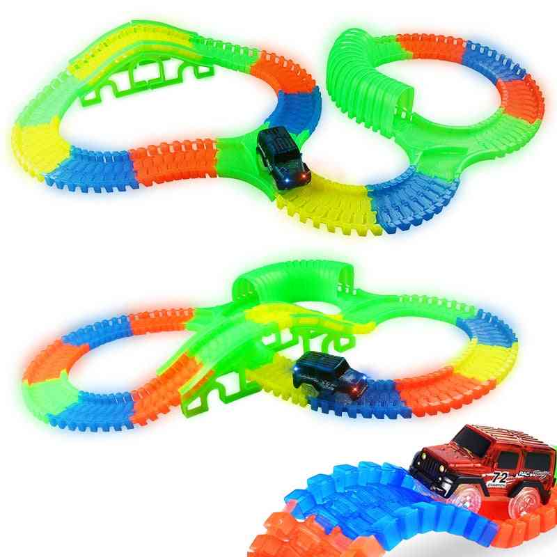 Glowing Race Track Bend Flex Flash In The Dark - Assembly Car Toy