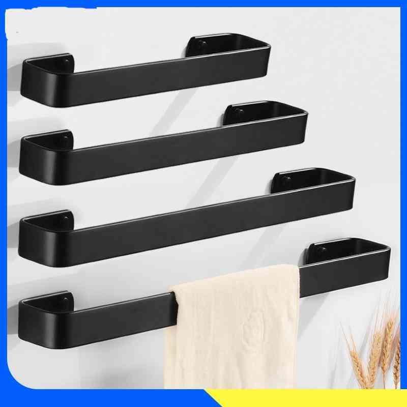 Black Towel Rack Hanging Holder Washroom, Bathroom Towel Aluminum Creative Robe, Bath Rail Hanger