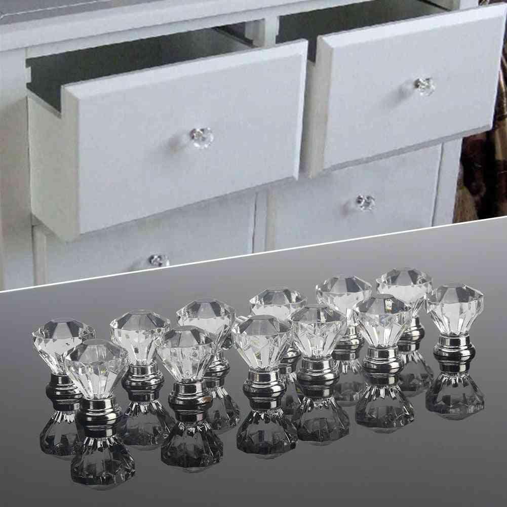 12pcs Of Clear Acrylic Diamond Shape Knob (30mm )