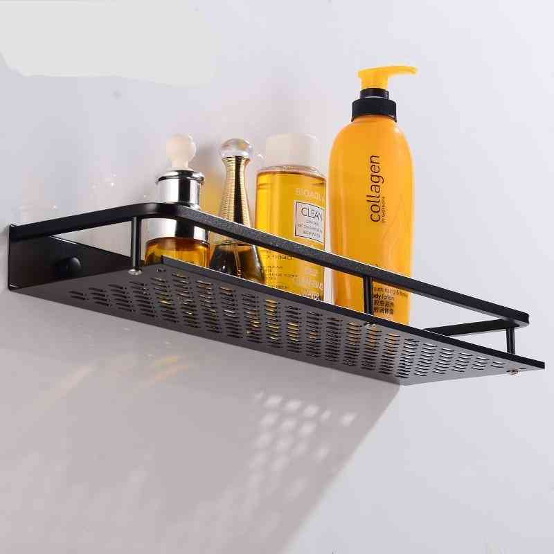 Bathroom Shelf Black Aluminum, Single Shelves Shower Storage Rack For Decorative Corner Basket