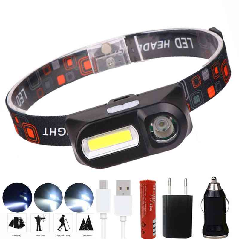Portable Led Headlight, Built-in Usb-rechargeable Battery