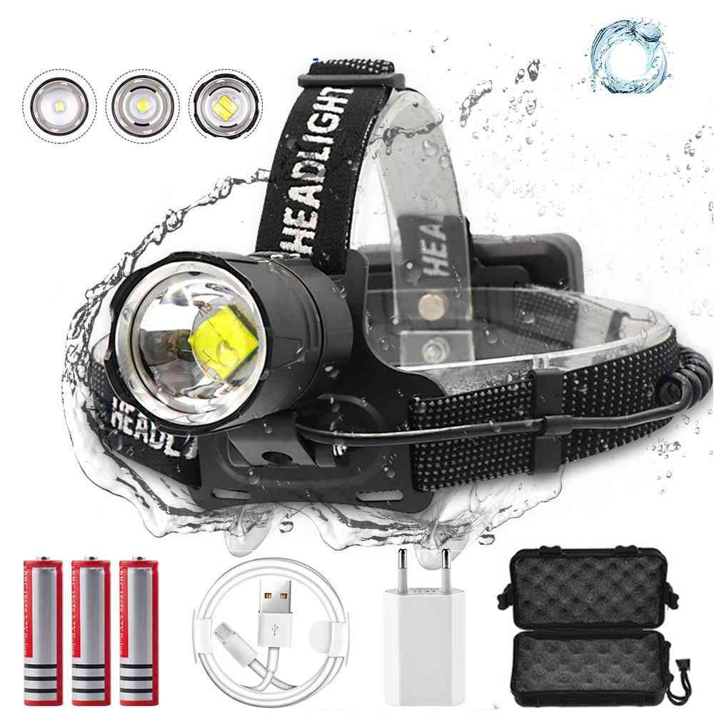 7000 Lumen , High-power Led Headlight-zoomable, Usb Rechargeable And Adjustable Band