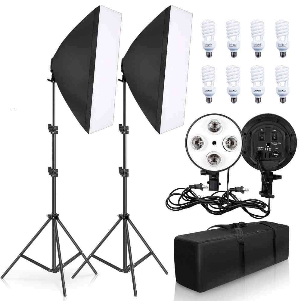Photography Lighting Lamp -soft Box Kit Holder With Bulb