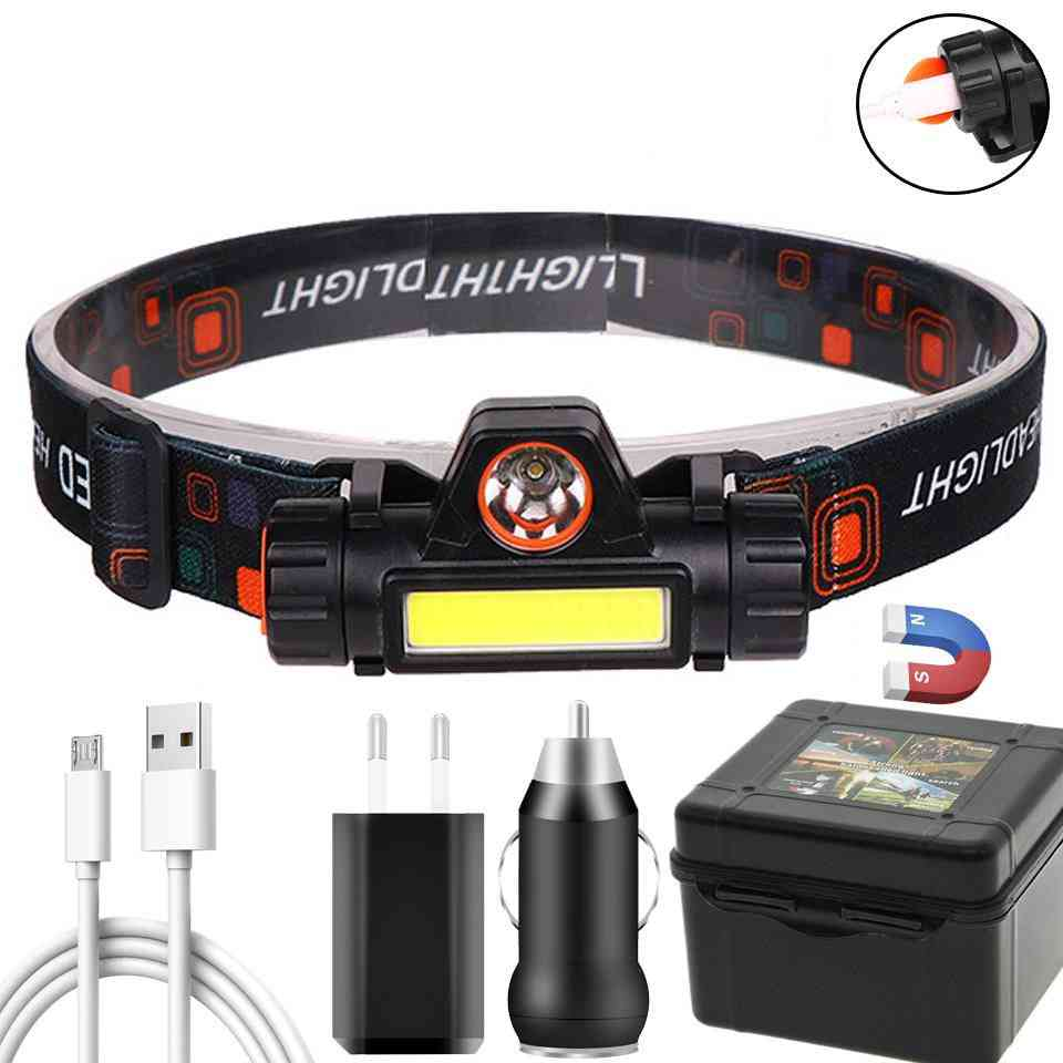 Portable & Powerful, Cob Led Headlamp With Usb Rechargeable
