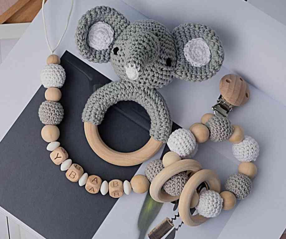 Amigurumi, Elephant, Owl Shape Rattle Bell - Pacifier Clip Toy