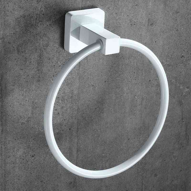 White Towel Ring Round Style Shape Wall-mounted Holder -hanger