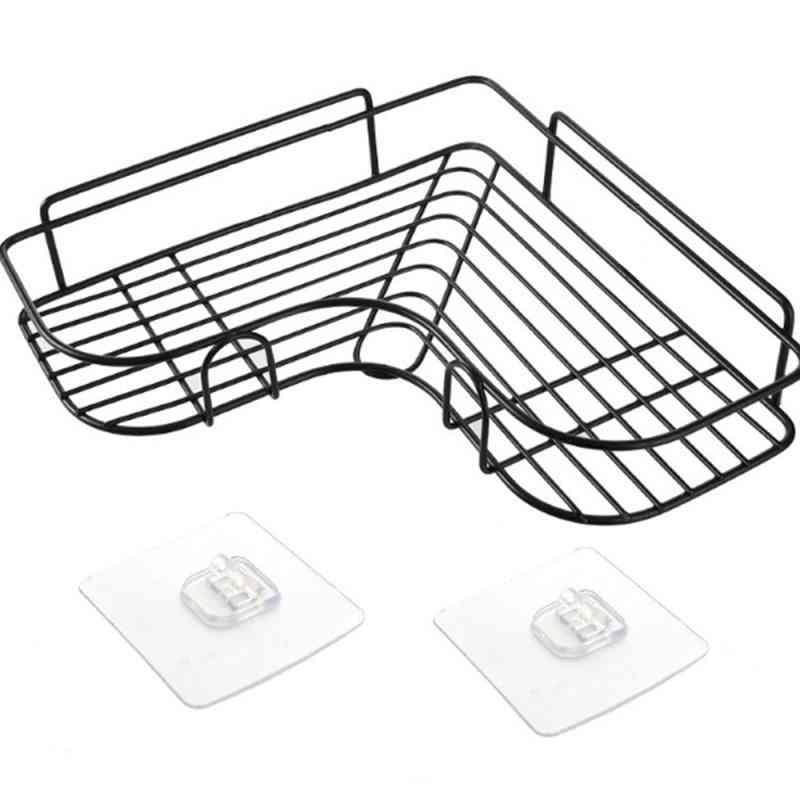 Metal Stand Iron Corner Storage, Shelf Wall-mounted Drain Rack/ Basket