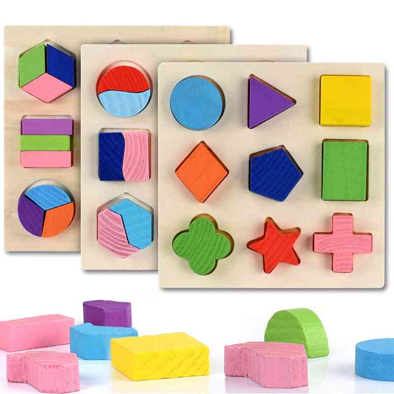 Wooden Geometric Shapes Montessori Puzzle Sorting Math Bricks - Preschool Learning Educational Game For