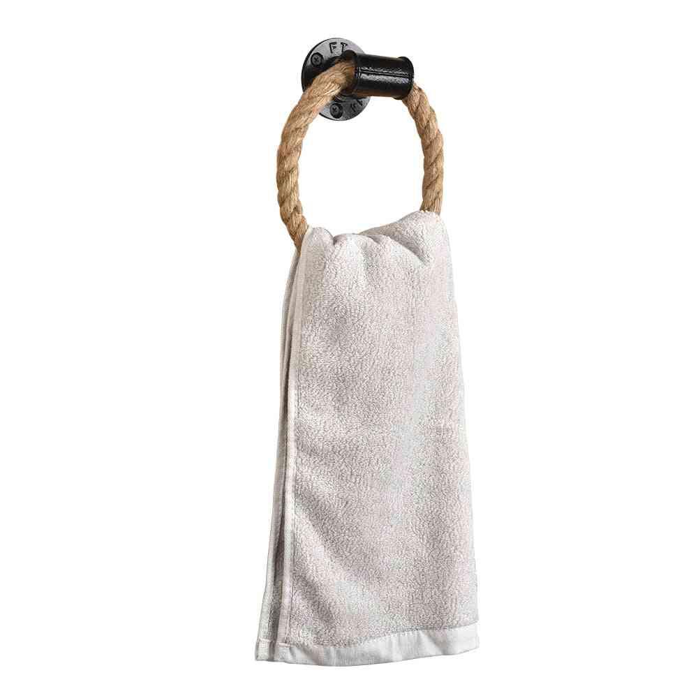 Rope Towel Ring Wall-mounted, Washcloth Holder