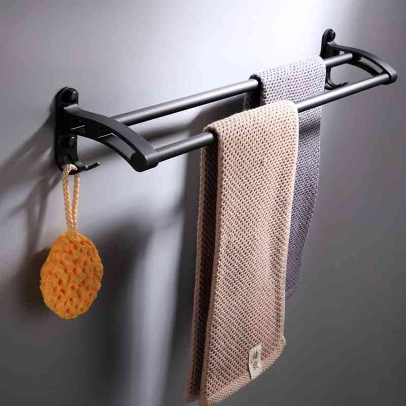 Black Design Double Rod Hardware Pendant, Towel Rack