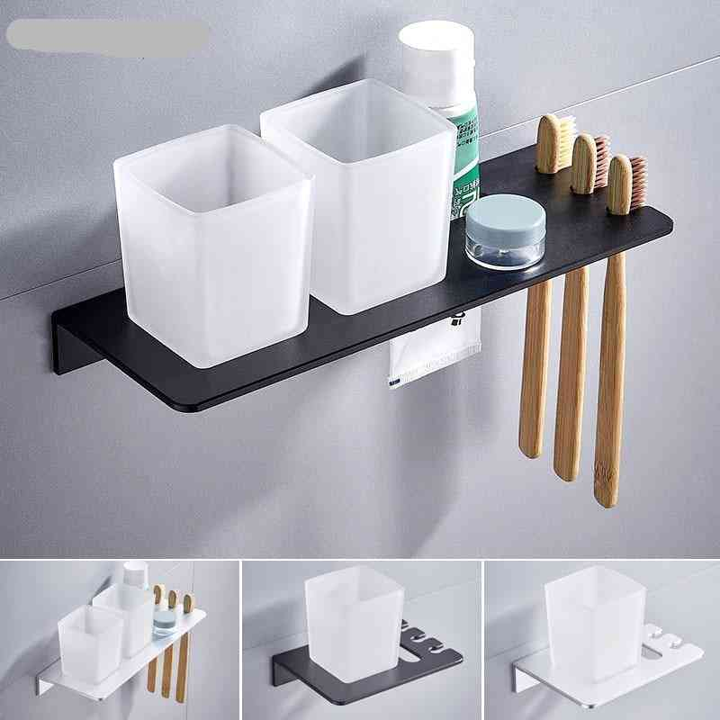 Silver Double Toothbrush Holder With Tooth Holder Aluminum Black Tumbler & Cup Holder Wall Mounted Bath Rack