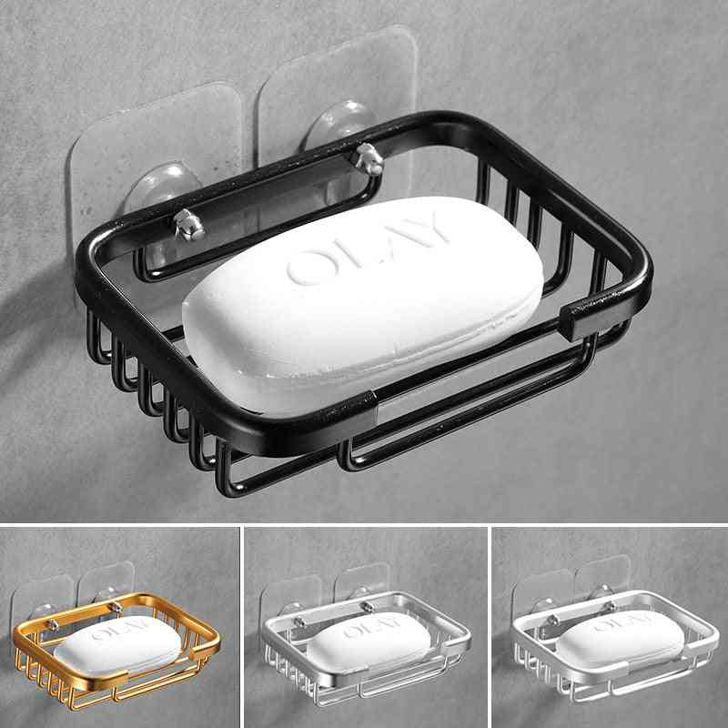 Bathroom Soap Dish Storage -holder, Aluminum Nail Wall Mounted Box