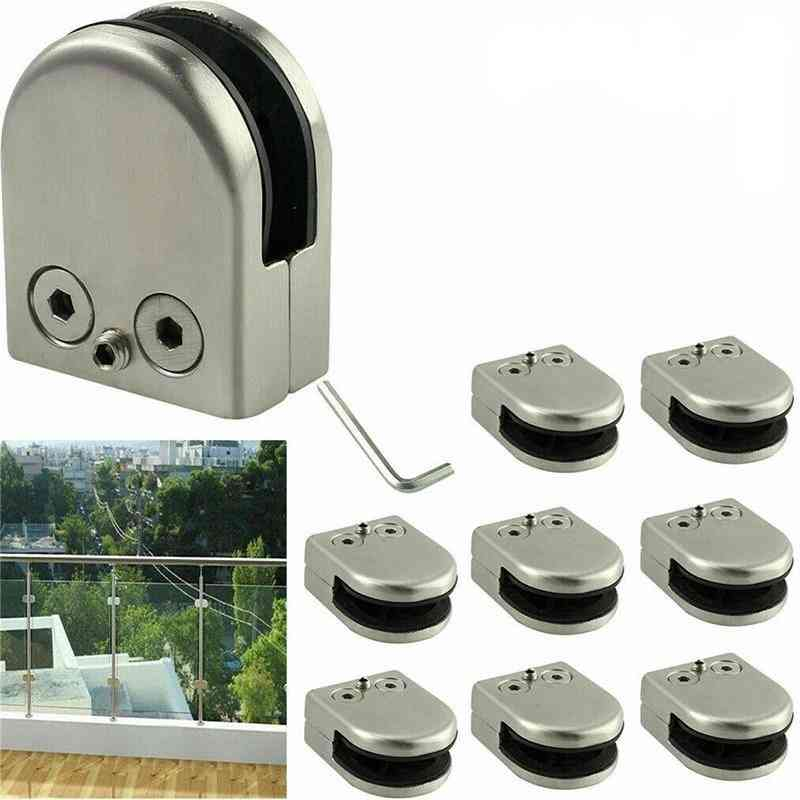 Wall Mounted Stainless Steel Glass Clips, Shelf Clamp Bracket, Holder