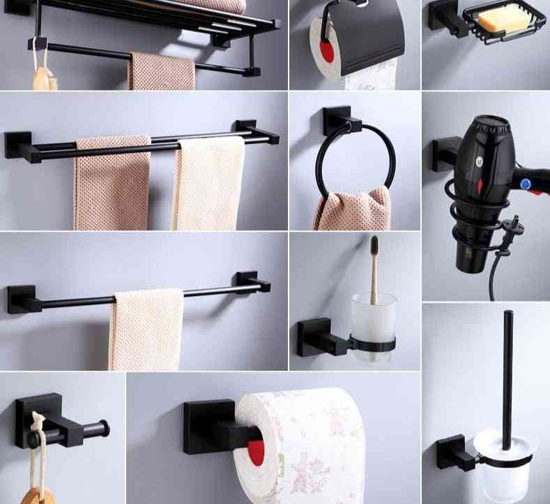 Aluminum Alloy, Matt Finish-bath Hardware Set Including Towel Rack, Toilet Paper Holder