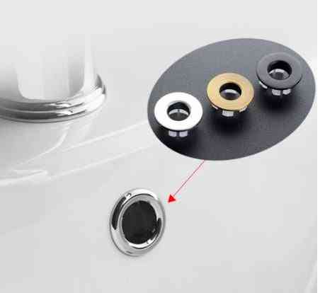 1pcs Sink Hole-round Overflow Cover Ceramic Pots, Plastic/copper Insert Chrome Basin Sink