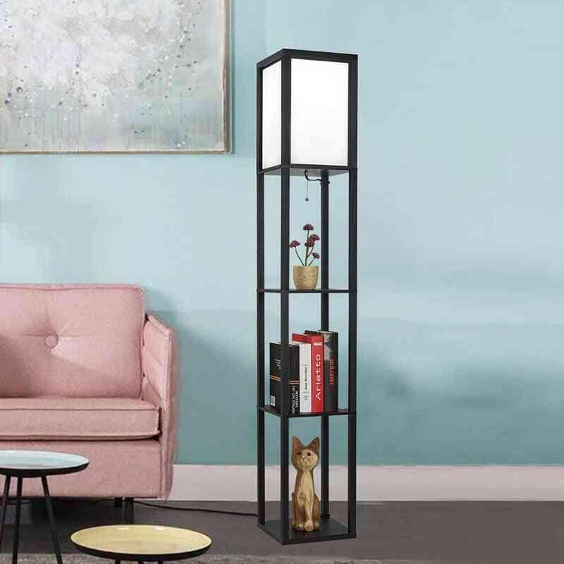 Led Shelf Floor Lamp - Wooden Frame Tall Lights