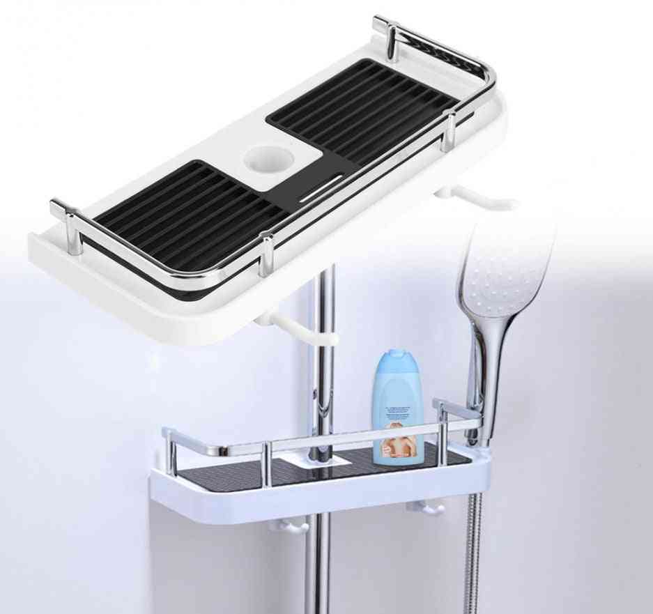 Shower Pole Storage Rack, Single Tier Tray-hollow Out Design