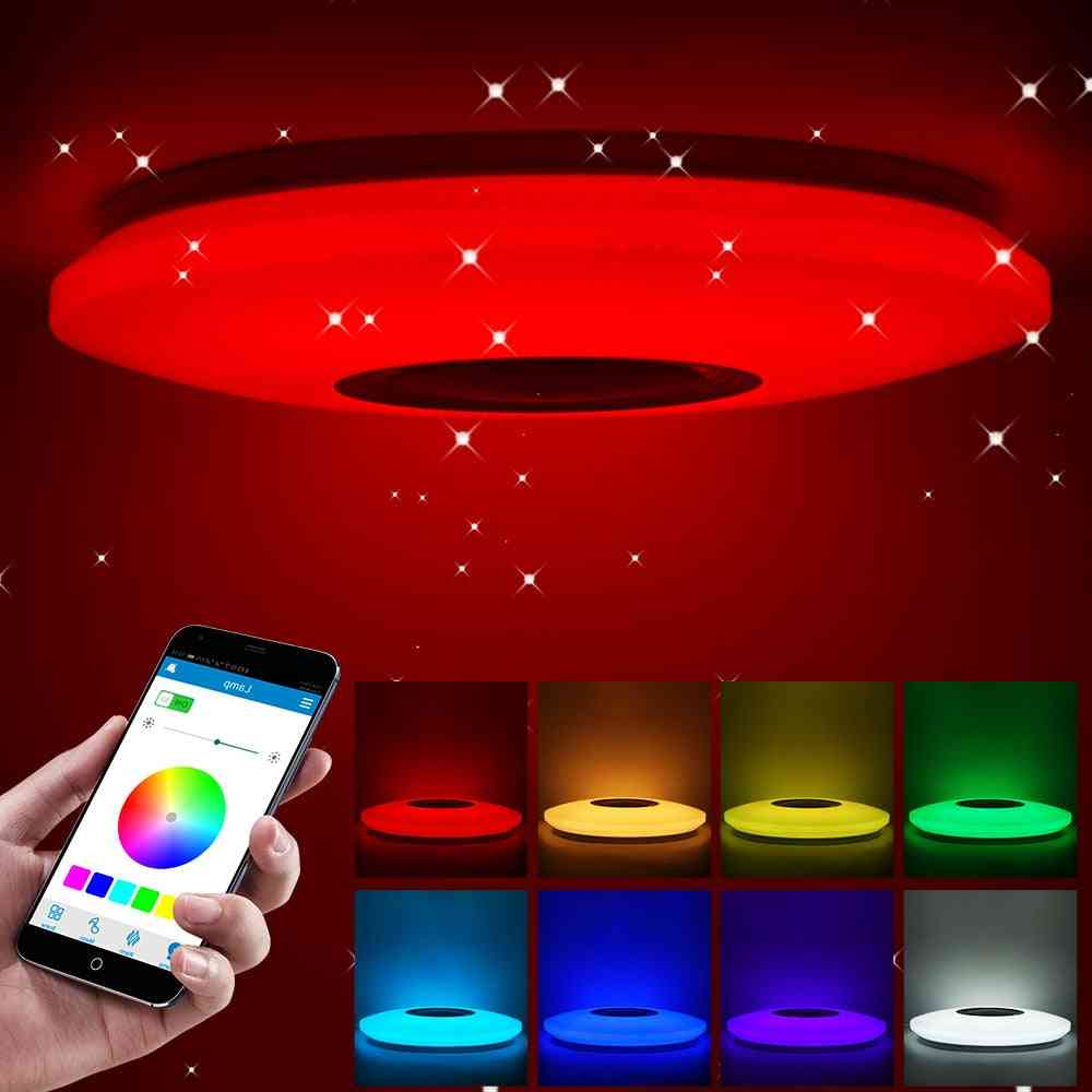Smart Led Ceiling Light And Music Speaker With Bluetooth Remote Control