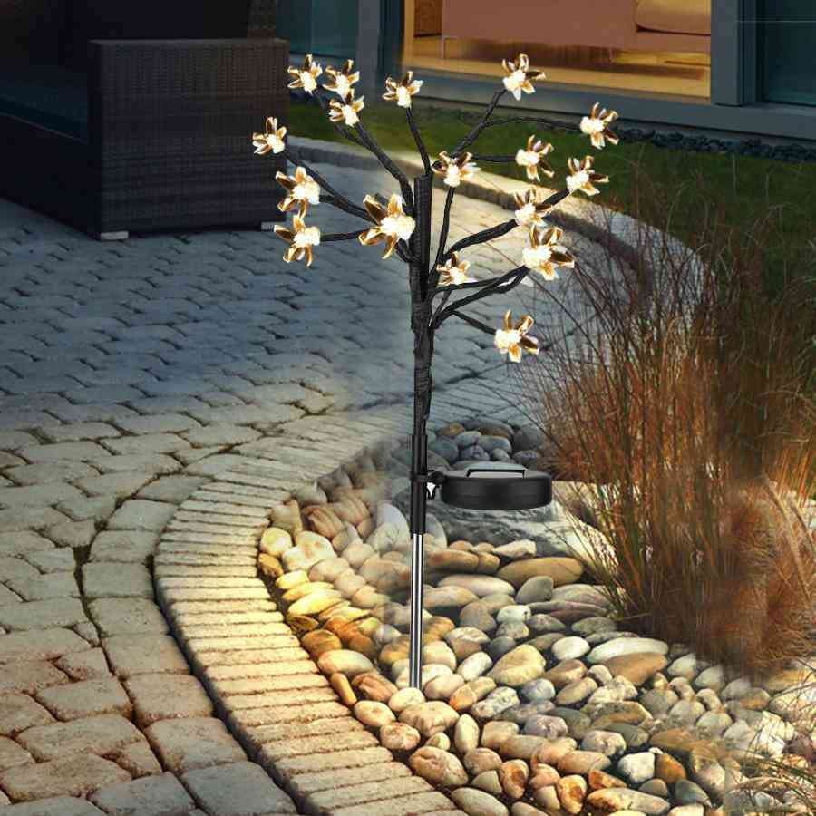 Led-solar Powerd  3-modes Dimmable Warm Peach-tree Lamp