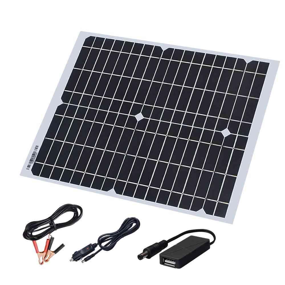 Solar Panel Kit - Cable 5v Usb Cigarette Lighter Alligator Clip Charge For Phone And Car Battery
