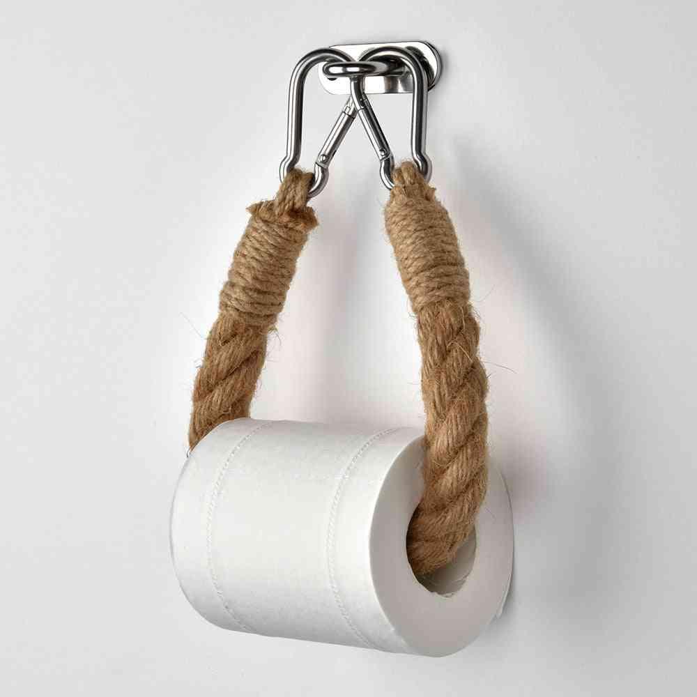 Vintage Towel Hanging Rope And Toilet Paper Holder