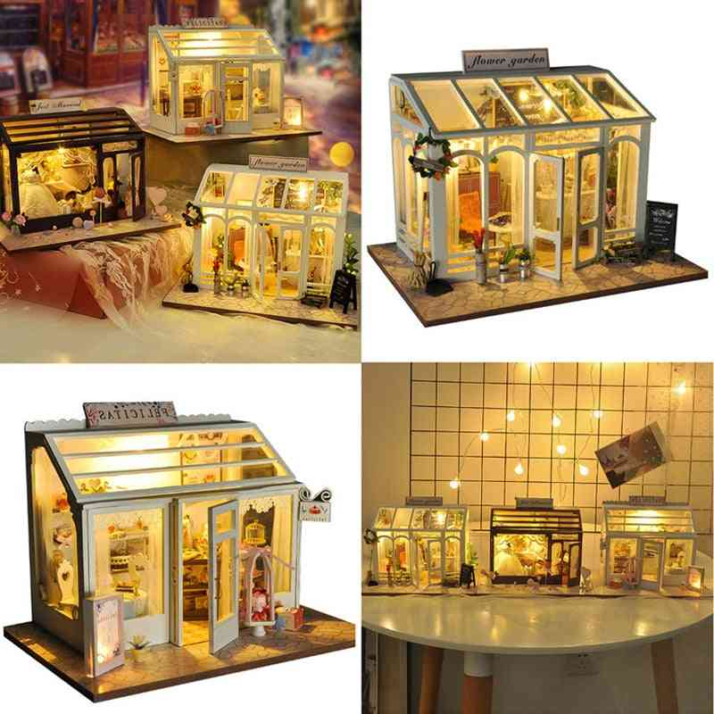 Diy Wooden Dollhouse With Furnitures For