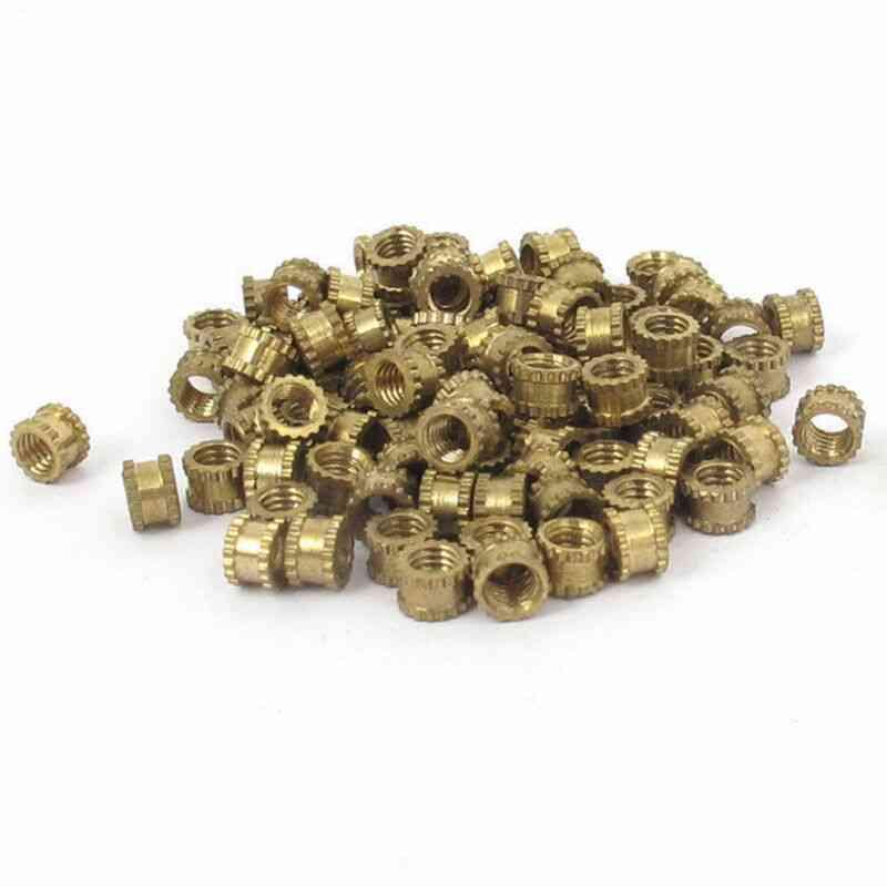 100pcs 4.2mm M3x3mm Threaded Round Metal Knurl Thread Insert Nuts Brass Tone