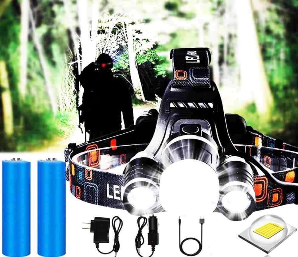Ezk20 Headlamp Flashlight - Rechargeable 3 T6 R5 Led Hard Hat Headlight Battery Car Wall Charger For Camping