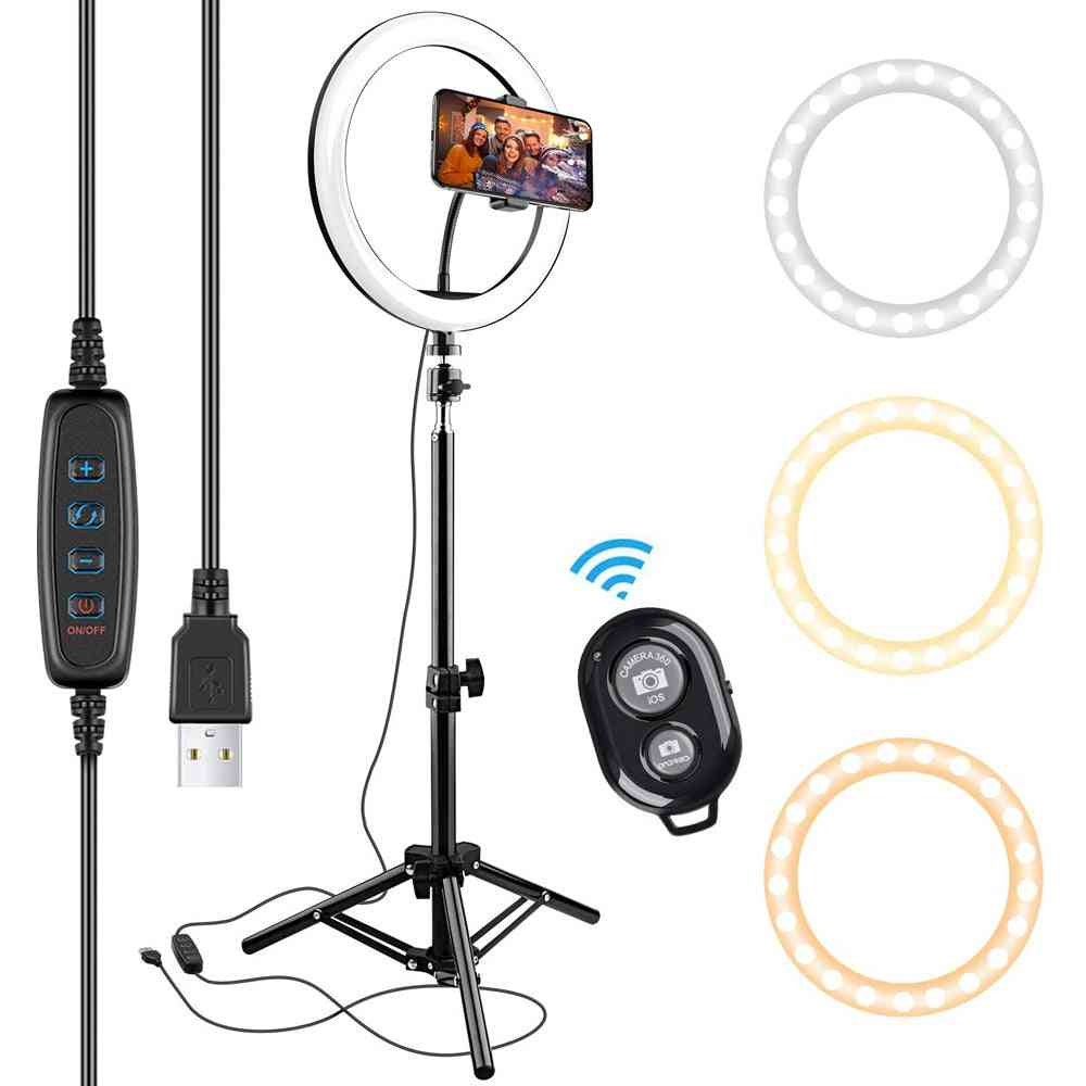 Usb Led Selfie Ring Light, Photography Flash Lamp With Tripod Stand