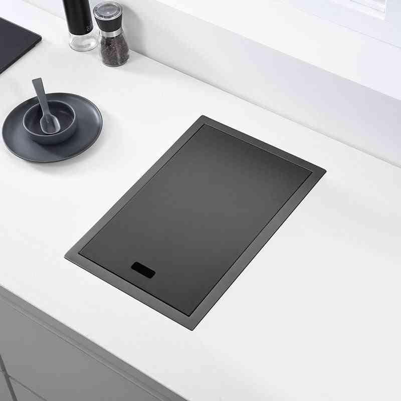 Hidden Black Kitchen Sink Single Bowl Bar Small Size, Sink Stainless Steel Balcony Sink Concealed Black Kitchen Sink Bar
