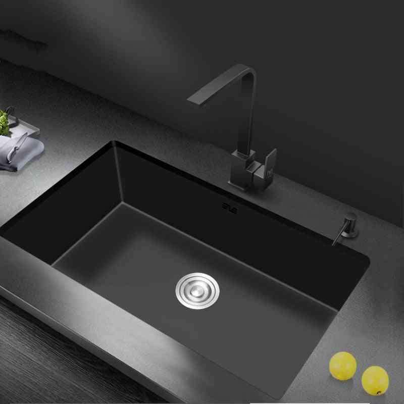Nano-water Tank Single-groove Black Kitchen Sink Basin - 304 Stainless Steel Vegetable-washing Basin Under Mount For Large Kitchen