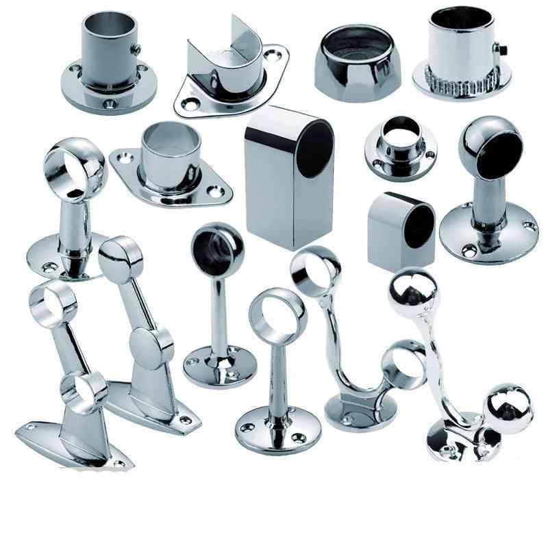 2pcs Of Steel Flange,  Pipe Base, Fixed Clamp, Tube Socket ,curtain Rod Closet ,hanger Bracket -wardrobe Accessories